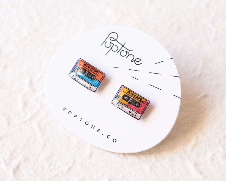 Mix Tape / Retro Cassette Stud Earrings