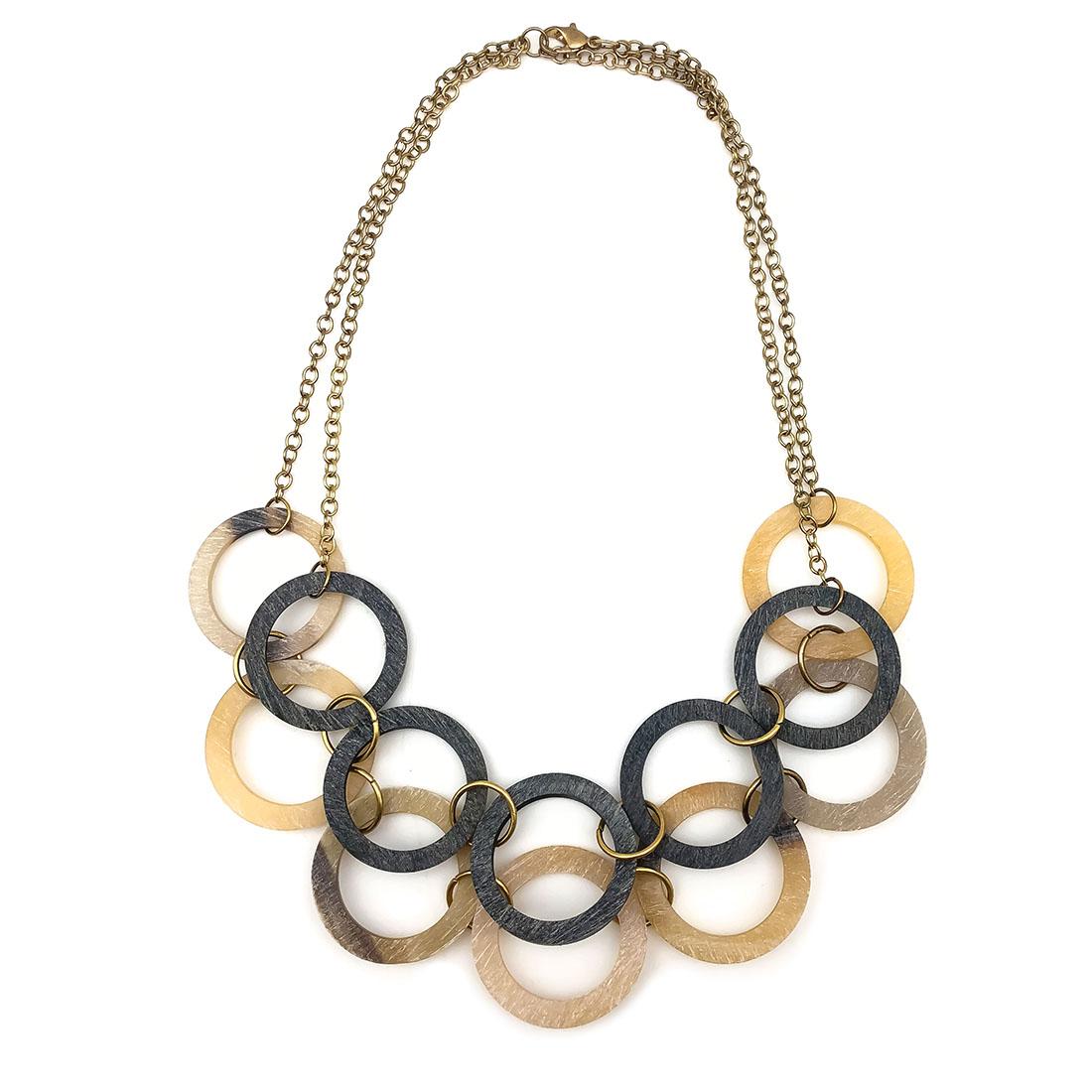Omala Linen and Grey Layered Circles Necklace